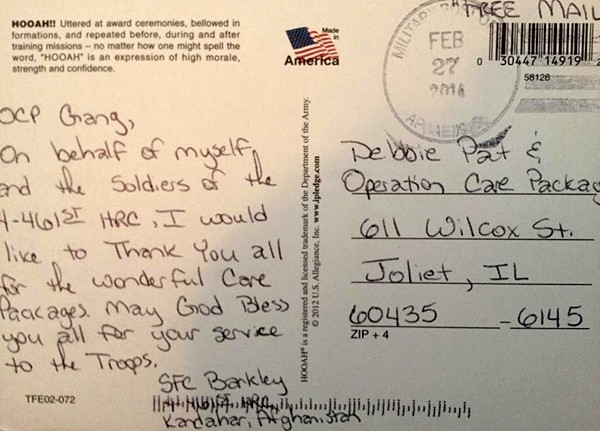 Writing letters to american soldiers